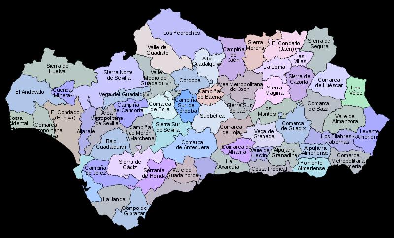 Comarcas de Andalucia: Total 62 comarcas