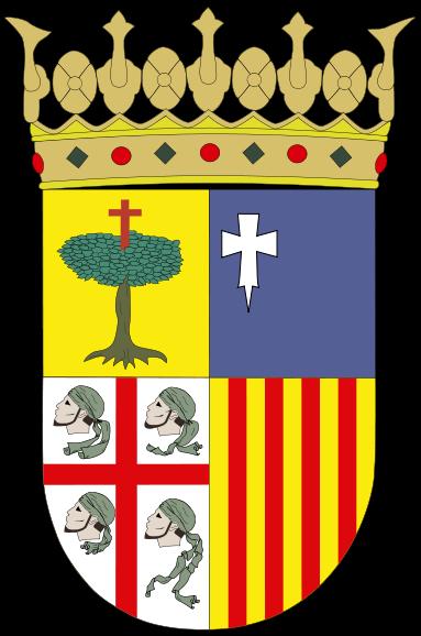escudo de Aragón es el tradicional de los cuatro cuarteles, rematado por la corona
