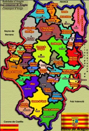 Comarcas de Aragon. Sus provincias son, Zaragoza, Huesca y Teruel