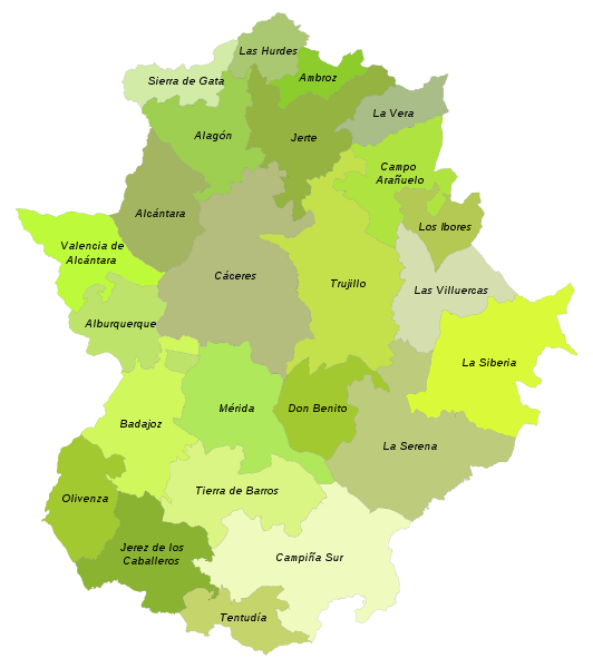 Mapa comarcas de extremadura