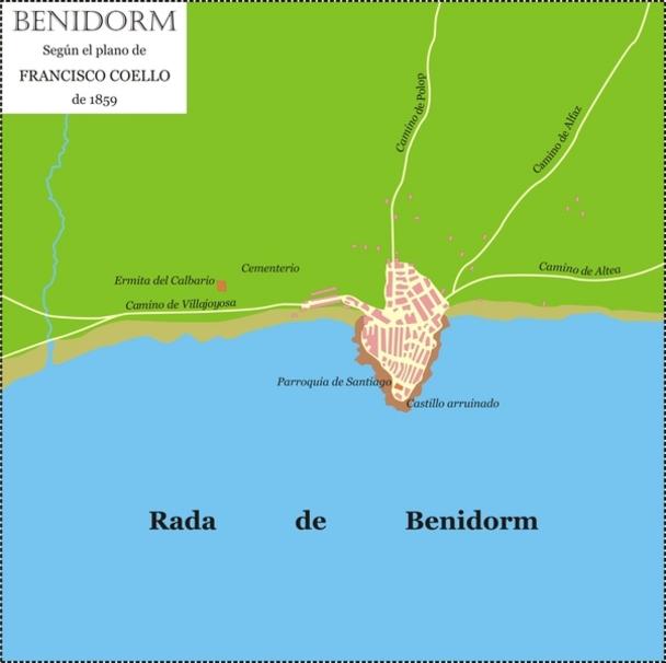 Extensión de Benidorm en 1859
