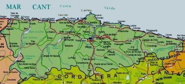 Mapa Costa De Asturias.Mapa De Asturias Fotos Pueblos Descripcion