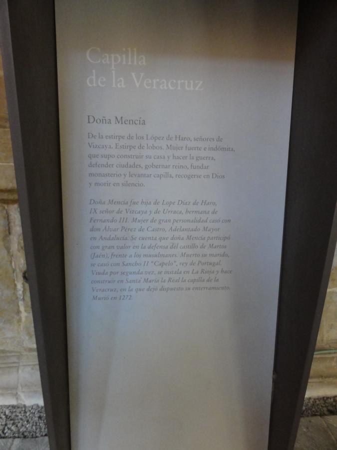 Doña Mencia Lopez de Haro Capilla de la Veracruz, Najera