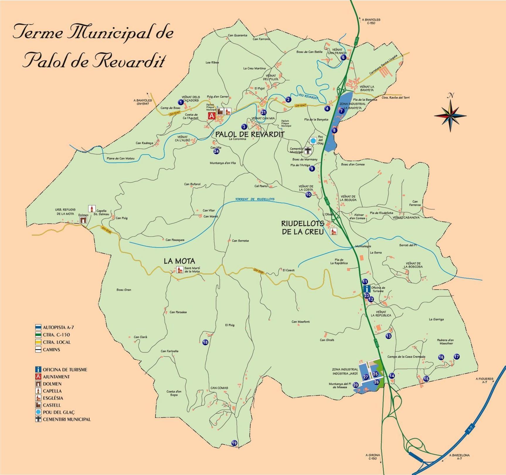 Mapa de Palol de Revardit, Gerona-Girona