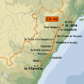 Map of the highway CV 10 in the direction of Castellón