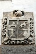 Escudo del Valle de Roncal en la fachada de Casa Gambra. Roncal Navarra España
