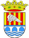 Shield of Alcántara de Júcar, high bank