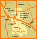 Mapa de Forallac: formado por Fonteta, Peratallada y Vulpellac